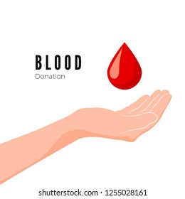 Blood Donation Concept. World blood donor day. Hand and red drop symbol of volunteer blood donation. illustration isolated on white background