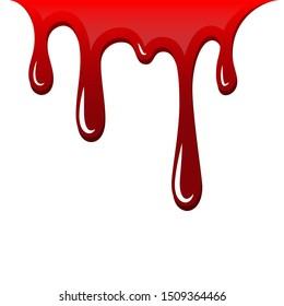 Blood drip 3D. Drop blood isloated white background. Happy Halloween decoration design. Red splatter stain splash spot, horror blot. Bleeding bloodstain scare texture. Liquid paint illustraton