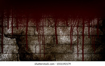Blood dripping on grunge wall