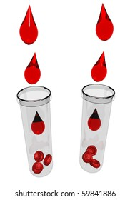 Blood drops with red blood cells