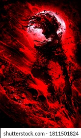 A blood female vampire against a full blood moon screams in waves of crimson dark blood. 2D illustration