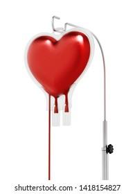 Blood inside heart shaped bag. 3D illustration.