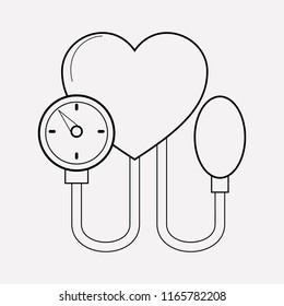 Blood pressure icon line element.  illustration of blood pressure icon line isolated on clean background for your web mobile app logo design.