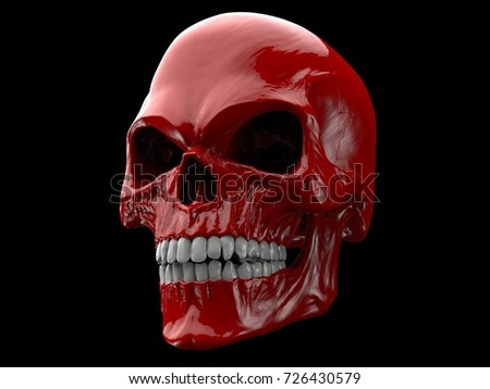blood red demon skull 3 d illustration stock illustration 726430579