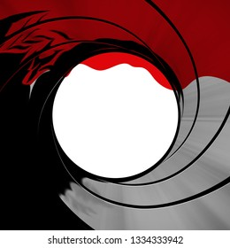 Blood running down the rifle gun barrel target background of James Bond 007 movie theme intro