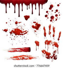 Blood spatters realistic bloodstains patterns set of smears splashes drippings drops and handprint on white background  illustration