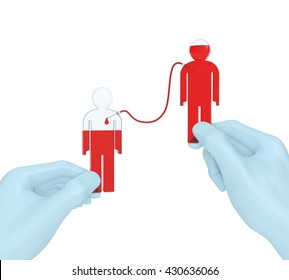 Blood transfusion concept. Blood donor and recipient as test tubes (glass flasks) in doctor hands as symbol of blood transfusion, blood donation, hematherapy or World blood donor day (3d rendering)