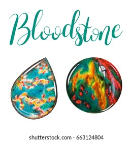 Bloodstone polished crystal and stone isolated on white background. March birthstone with lettering.  Close up illustration of gems drawn by hand with colored pencils