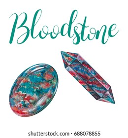 Bloodstone polished crystal and stone isolated on white background. March birthstone with lettering. Close up illustration of gems drawn by hand with watercolor