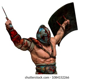 bloody gladiator in an white background 3d illustration
