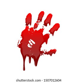 Bloody hand print 3D isolated white background. Horror scary drip blood dirty handprint, fingerprint. Red palm, fingers, stain, splatter, streams. Symbol horror murder, violence illustration