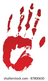 A bloody hand print on white. Raster.