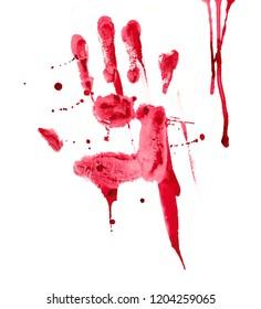 Bloody hand print watercolor