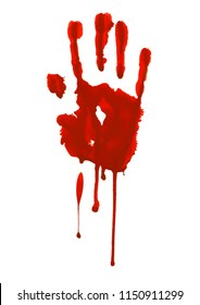 Bloody red horror hand print. Design element for Halloween decoration.