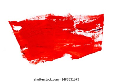 Bloody red watercolor texture background with dry brush spots isolated on white. Abstract artistic frame, place for text or logo. Acrylic hand painted gradient backdrop
