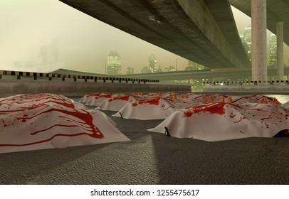 Bloody sheet with cadavers on the asphalt, under the bridges, 3d illustration