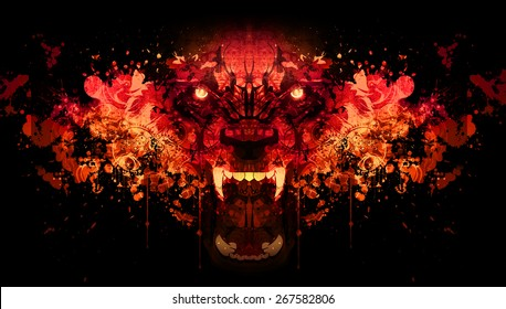 Bloody werewolf abstract background