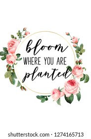 bloom where you are planted quote with floral wreath