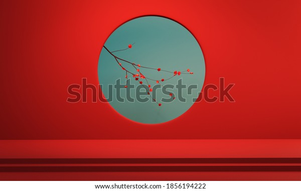 Blooming Cherry blossom in red round hole wall background. Happy Chinese New Year design background for banners, poster, greeting card and brochure. Photorealistic 3D rendering.