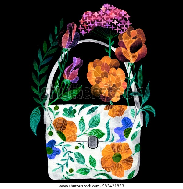 Blooming female bag. Watercolor illustration in fashion folk style 70s. Unusual trendy illustration for your design.