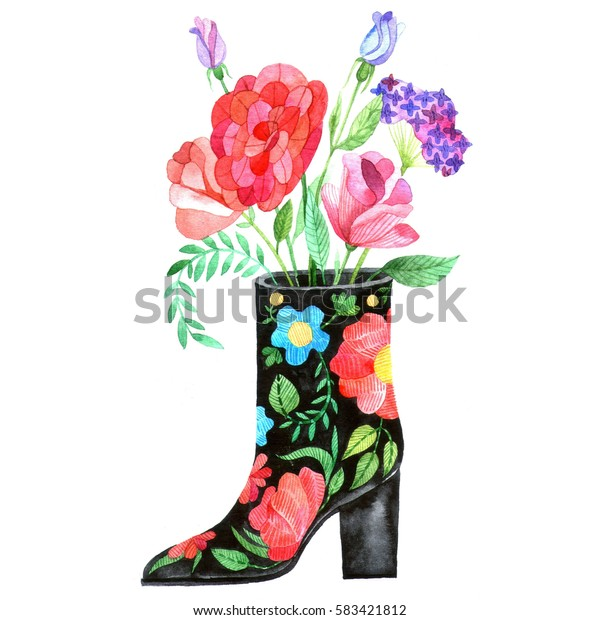 Blooming female boot with a heel. Watercolor illustration in fashion folk style 70s. Unusual trendy illustration for your design.