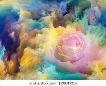 Blooming flower in foam of colorful paint as backdrop for subject of art, creativity and imagination. Custom background series.