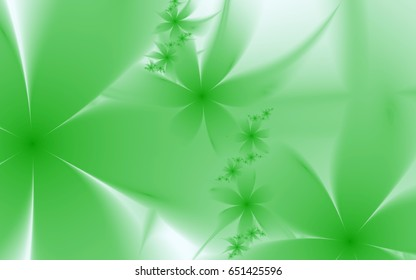 Blooming garden. Green fantastic flowers. Delicate translucent petals. Intertwined. Large and small open green buds of flowers.