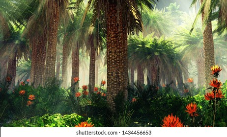 Blooming jungle in the fog, flowers among palm trees, palm trees in the fog, 3d rendering