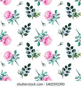Blooming pink roses and green twigs with blue and white buds watercolor seamless pattern on white background