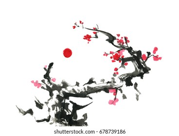 Blooming plum and sun, traditional oriental art, free brush.
