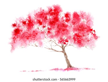 Blossom cherry tree. Spring landscape. Watercolor hand drawn illustration
