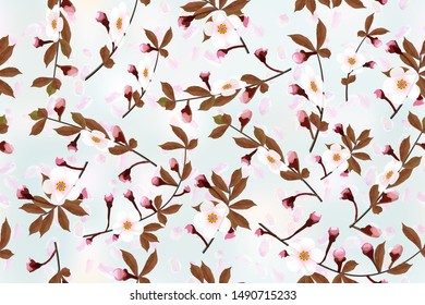 Blossoming branches of a cherry on heavenly blue abstract background. Sakura petals floral seamless texture