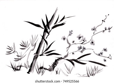 Blossoming tree of plum and bamboo, spring, sumi-e