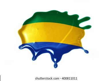 blot with national flag of gabon on the white background.3D illustration