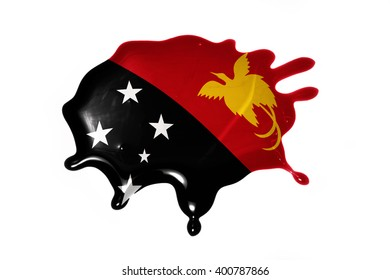 blot with national flag of Papua New Guinea on the white background.3D illustration