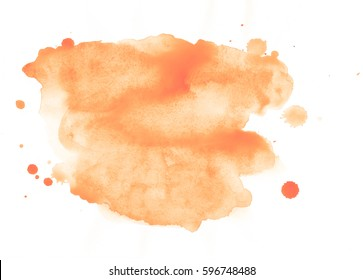 Blot with splashes and drops of watercolor painted isolated on white background, orange