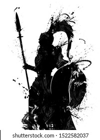 The blotchy silhouette of a knight with a shield in a helmet with a tail, and with a spear, stands in profile . 2D illustration.