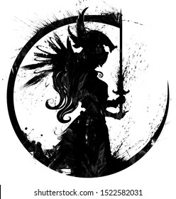 A blotted silhouette of a praying Valkyrie with a sword in her hands. 2D illustration.