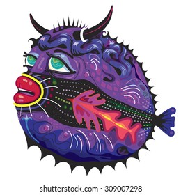 Blow fish with Horns and Red Lipstick Cartoon in Purple and Tropical Colors