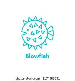 Blowfish icon or logo. Linear silhouette sea fish. Blowfish logo concept. Tropical fish. Marine life. Olutline illustration isolated on white background.