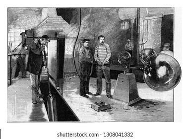 Blowing of the glass, vintage engraved illustration. From the Universe and Humanity, 1910.