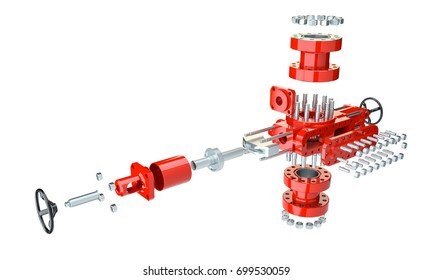 Blowout preventer in disassembled condition, isolated on white. 3d illustration