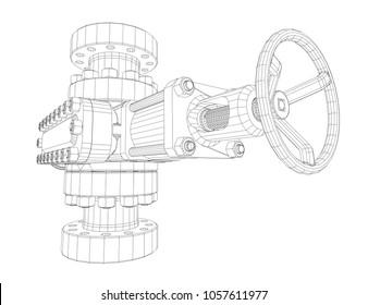 Blowout preventer. Wire frame style. 3d illustration. Concept of the oil industry