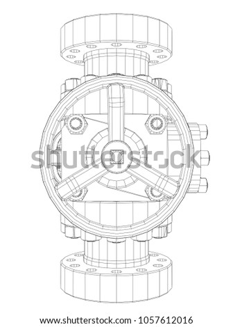 royalty free stock illustration of blowout preventer wire frame Oil Well Blowout Preventer blowout preventer wire frame style 3d illustration concept of the oil industry