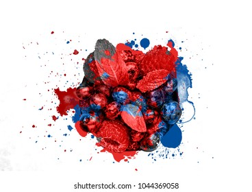 bluberry and raspberry with Splash abstract on white background