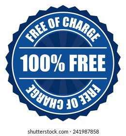 Blue 100% free of charge icon, tag, label, badge, sign, sticker isolated on white
