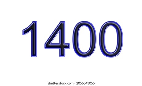blue 1400 number 3d effect white background