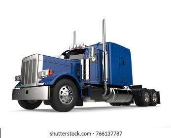 Blue 18 wheeler truck - no trailer - low angle shot - 3D Illustration