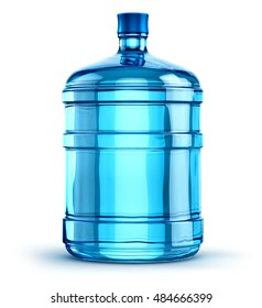 Blue 19 liter or 5 gallon plastic water bottle container isolated on white background