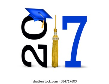 blue 2017 graduation cap with gold tassel isolated on white